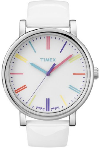Timex Unisex Heritage T2N791 White Leather Quartz Watch with White Dial