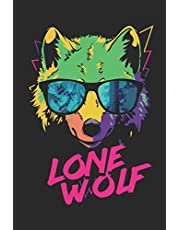 Lone Wolf: Neon Retro Wolf in Sunglasses Journal   6 x 9 In, 120 Pages