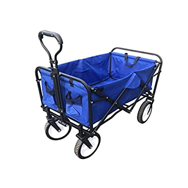 ABO Gear Collapsible Folding Utility Wagon Garden Cart Shopping Buggy Yard Beach Cart Blue