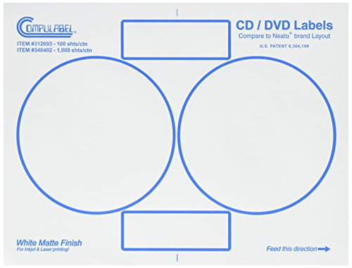 Compulabel 312693 White CD/DVD Labels for Laser and Inkjet Printers, Comparable to Neato, 4.65 inch, Permanent Adhesive, 2 Per Sheet, 100 Sheets per Carton