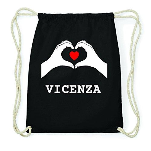 JOllify VICENZA Hipster Turnbeutel Tasche Rucksack aus Baumwolle - Farbe: schwarz Design: Hände Herz