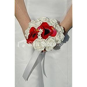 Bright White Rose & Red Poppy Anemone Mini Posy w/ White Ribbon 28