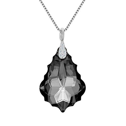 EleQueen 925 Sterling Silver CZ Baroque Drop Pendant Necklace Grey-Black Made with Swarovski - Swarovski Crystal Pendant Black