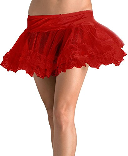 Lace Trimmed Petticoat Adult Costume Accessory Red - One Size ()