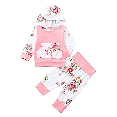 Lurryly?Baby Girls Kids Fall Winter Floral Long Sleeve Hood Hoodie+Pants Outfits Clothes 0-2T