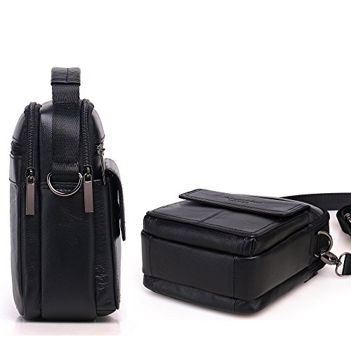 Meigardass Men's Genuine Leather Small Messenger Bag Shoulder Bag Briefcase Handbag (black) by Meigardass (Image #3)