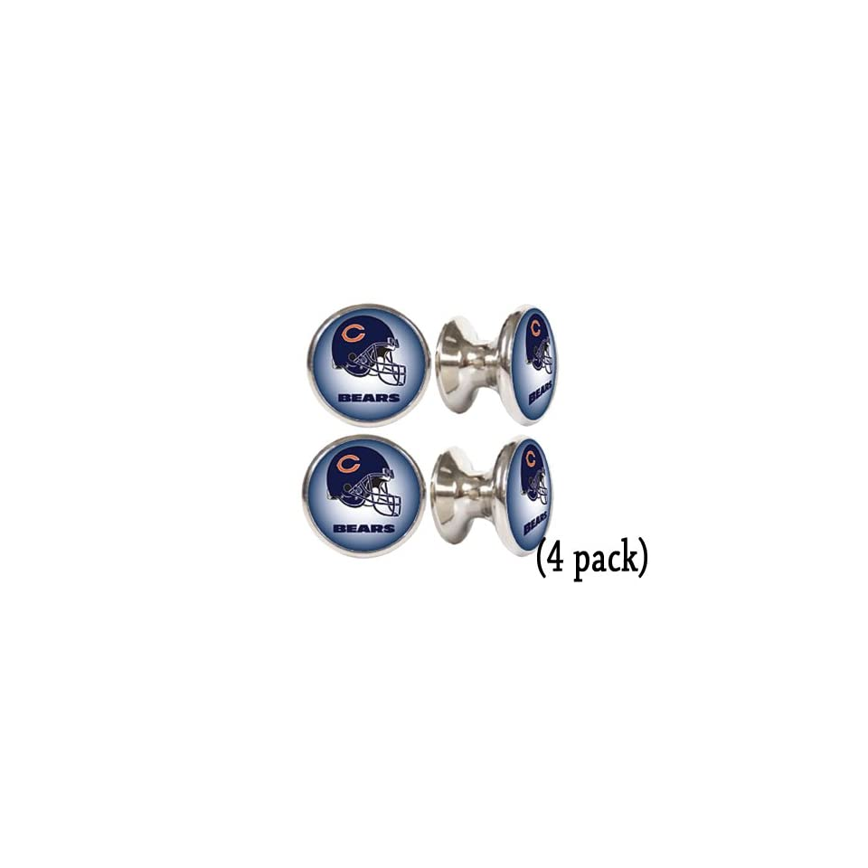 Chicago Bears NFL Stainless Steel Cabinet Knobs / Drawer Pulls (4 pack)