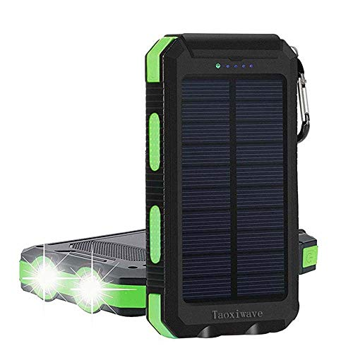 Solar Charger Solar Power Bank 20000mAh Waterproof Portable External Backup Outdoor Cell Phone Battery Charger with Dual LED Flashlight Solar Panel for iPhone Android Cellphones (Black & ()