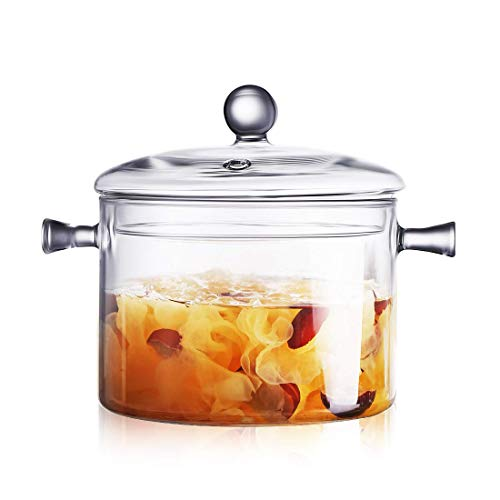 Glass Saucepan with Cover, 1.5L/50 FL OZ Heat-resistant Glass Stovetop Pot and Pan with Lid, The Best Handmade Glass Cookware Set Cooktop Safe for Pasta Noodle, Soup, Milk, Baby Food