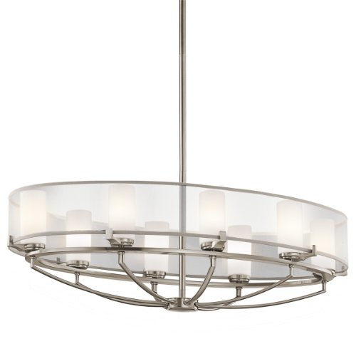 Light Oval Bowl Chandelier (Kichler Lighting 42922CLP 8-Light Saldana Oval Pendant, Classic Pewter Finish with Etched Opal Glass Diffuser and Translucent Organza Fabric Shade)