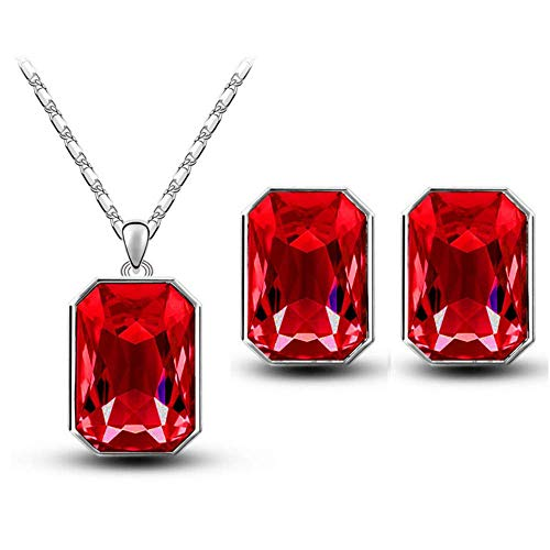 NiuChong Austrian Crystal Pendant-Rectangular Bridal Earrings Necklace Jewelry Sets Love it Red