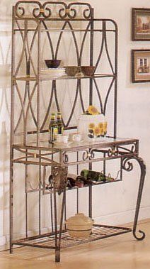 Bronze Dining Room Bakers Rack (Baker's Rack with Wine Storage Bronze Finish)