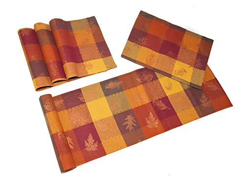 Kovot Placemats & Table Runner | Autumn Leaves with Foil Accents | Set of 4 Festive Thanksgiving Place Mats (13