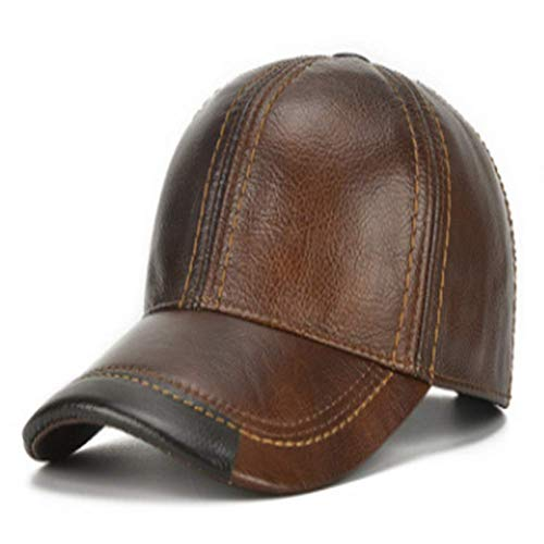 HSRT Mens Cowhide Leather Solid Adjustable Baseball Cap Casual Cosy Sunshade Sport Cap (Genuine Leather Baseball Cap)