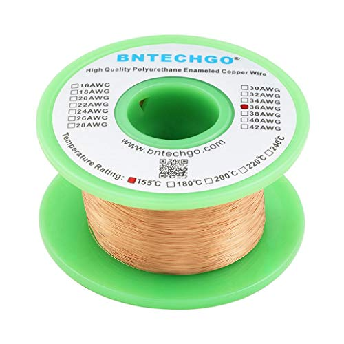 BNTECHGO 36 AWG Magnet Wire - Enameled Copper Wire - Enameled Magnet Winding Wire - 4 oz - 0.0049