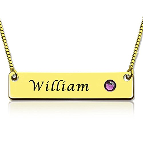 Custom Customized Necklaces Nameplate Bar Necklace with Birthstone Pendant Christmas Gift
