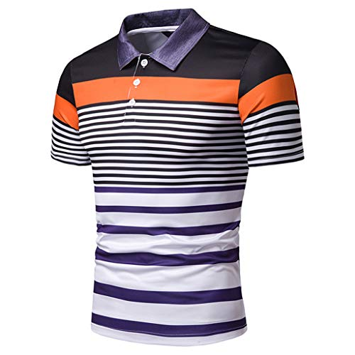 (Summer Stripe Painting Top Men Fashion Short Sleeve Large Size Casual Blouse Fashion Shirts)