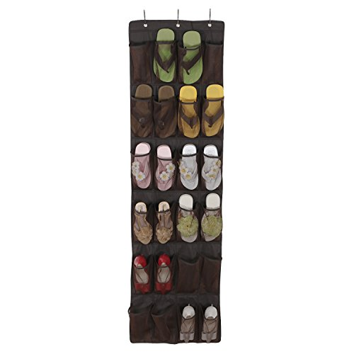Lifewit 24 Pocket Breathable Shoe Organizer Over the Door Shoe Storage Mesh Pockets Hanging Rack with Hooks,Brown