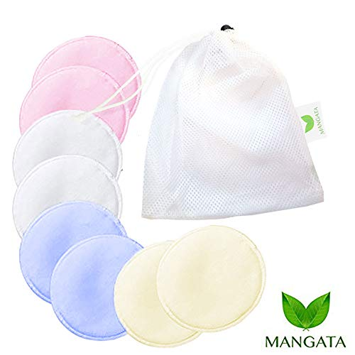 Mangata Organic Bamboo Nursing Pads – Reusable and Washable Breastfeeding Pads – Hypoallergenic and Sensitive – Pack of 8 Colored Pads - Includes Bonus Mesh Washing Bag ()
