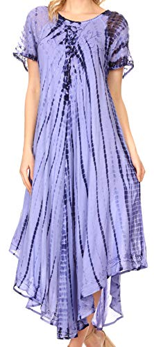 Sakkas 17601 - Yasmin Tie Dye Embroidered Sheer Cap Sleeve Sundress | Cover Up - Blue - OS