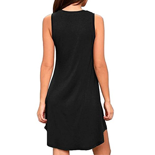 Casual Pockets KIMODO Fashion Sleeveless Womens Black Dress wxB7fIB