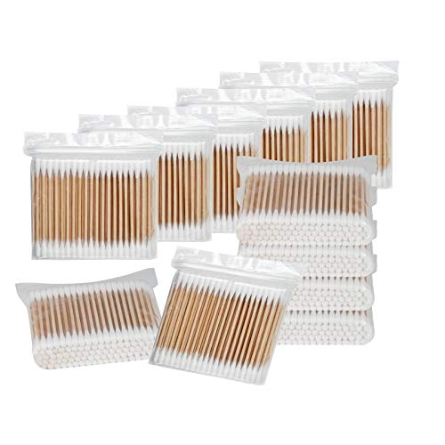 2000 Count Wooden Cotton SwabS, Round Double Bud Bamboo Stick Cotton Swabs,Plastic-Free Cleaning Cotton Swabs (100 Cotton Swabs/Pack)
