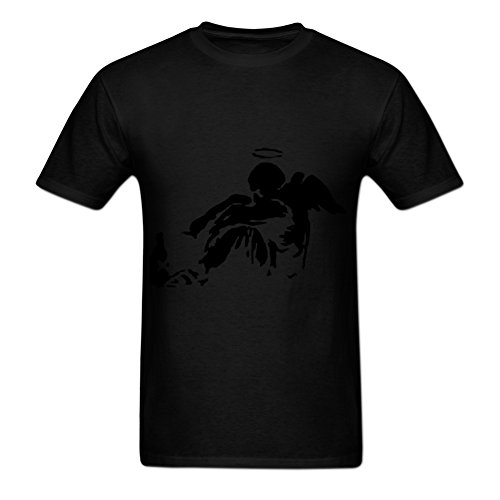 Allthelynic Men's Banksy Fallen Angel Short-Sleeve Cotton T-Shirt XL Black - Fallen Angel T-shirt
