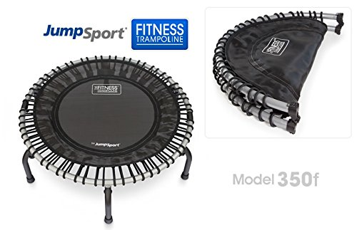 JumpSport 350F Folding Fitness Trampoline Easy Storage No-Tip Arched Legs Safe Stable Bounce Top Rated for Quality Durability Includes 4 Music Workout Videos On 1 DVD