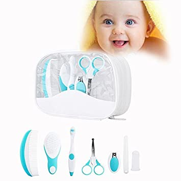 Baby Nursery Set Infant Grooming Kit Baby Healthcare Set for Baby, Infant and Children, Set of 7, Blue Txyk