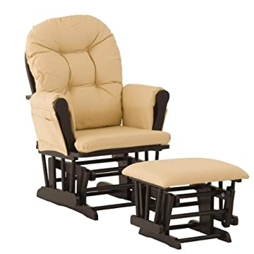 Stork Craft Hoop Glider and Ottoman, Black/Khaki