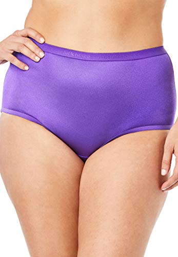 Comfort Choice Women's Plus Size 10-Pack Nylon Full-Cut Brief - Bright Pack, 13 (Nylon Panties Plus Size)