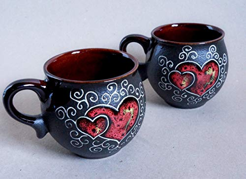 - Handmade heart coffee mugs, Cups of the heart, Pottery coffee cup set, Anniversary gifts for women friends, Wedding mugs gift, His and hers mugs
