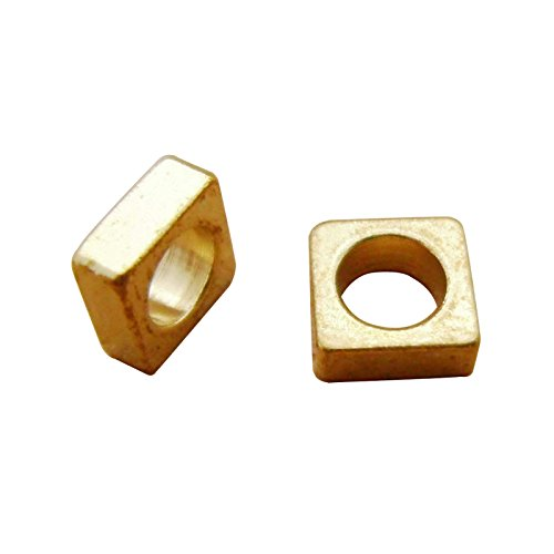 (80pcs 5mm Wide Raw Solid Brass Large Hole Flat Square Washer Quad Beads Spacers 2mm Thick 3mm Hole)