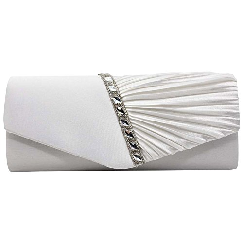 Satin Womens Evening White Red Handbag Studded Purse Clutch Sparkly Pleated Crystal Cckuu gZaXwZ