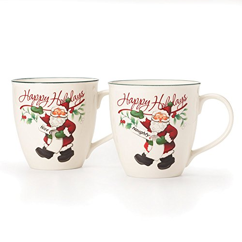 Pfaltzgraff Winterberry Mug Porcelain Naughty And Nice (Set of 2), 20 oz, Assorted  - -