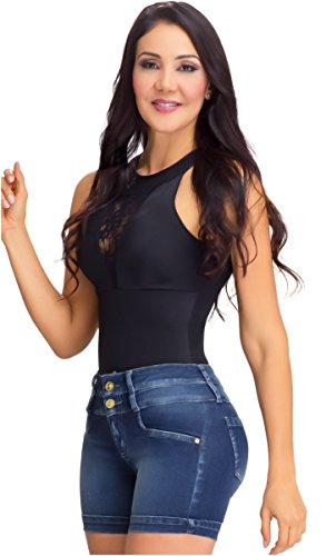 Lowla Women Fashion High Rise Waisted Soft Jean Inner Girdle Removable Light Wash Compression Shorts Levanta Cola Colombianos Para Dama Dark Blue 12