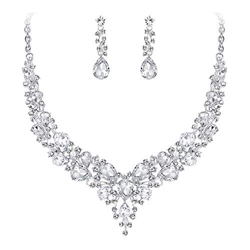 (BriLove Wedding Bridal Necklace Earrings Jewelry Set for Women Austrian Crystal Teardrop Cluster Statement Necklace Dangle Earrings Set Clear Silver-Tone)