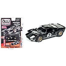 New 1:64 AUTO WORLD JOHNNY LIGHTNING VINTAGE MUSCLE COLLECTION - BLACK 1965 FORD GT-40 Diecast Model Car By Auto World