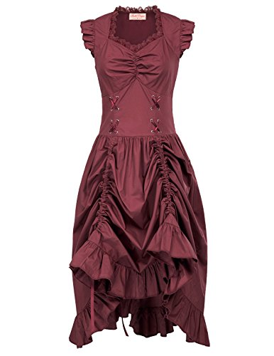 Belle Poque Women Steampunk Victorian Punk Pirate Dress Gothic Costume L Wine]()