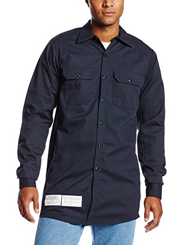 Bulwark Flame Resistant 7 oz Cotton/Nylon Excel FR ComforTouch Regular Work Shirt with Sleeve Vents, Lined Cuff, Navy, Medium