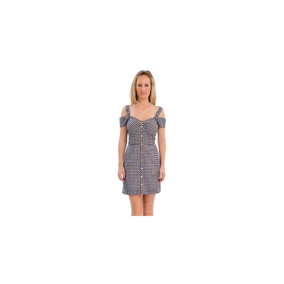 Leifsdottir Womens Gingham Off Shoulder Dress Navy Gingham 12