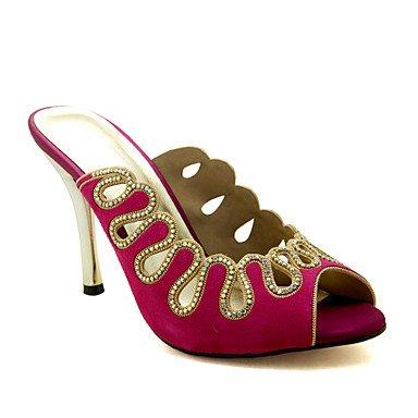 LvYuan Mujer-Tacón Stiletto-Gladiador-Sandalias-Boda Vestido Informal Fiesta y Noche-Lana fuchsia