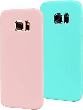 EuCase 2X Funda Samsung Galaxy S7 Silicona Carcasa Galaxy S7 Antigolpes Suave TPU Flexible Goma Mate Ultra Delgada Goma Color Cubierta Protector Case para Caja Tapa Carcasa Rosa Verde: Amazon.es: Electrónica