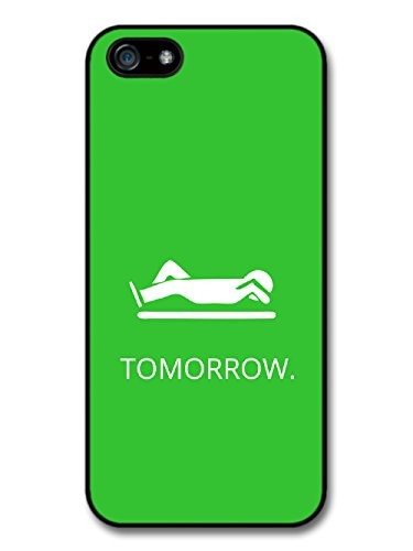 New Funny Procrastination Tomorrow Quote on Lazy Green Design coque pour iPhone 5 5S