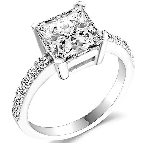 925 Sterling Silver Princess Cut 3.5 Carat CZ Diamond Wedding Engagement Bridal Halo Ring (Silver, 6)