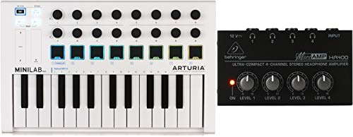 Arturia MiniLab MkII 25 Slim-key Controller + Behringer MicroAMP HA400 4-channel Headphone Amplifier Value Bundle