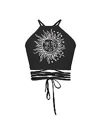 Girls' Spring Summer Short Tank Tops Halter Drawstring Backless One Size