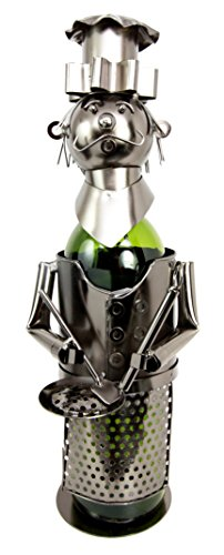 Atlantic Collectibles Head Chef With Pan & Spatula Hand Made Metal Wine Bottle Holder Caddy Decor Figurine 14.5