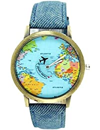 World Map Women Men Denim Fabric Watches Quartz Relojes Mujer Relogio Feminino Gift Blue