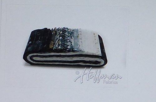 Hoffman Bali Batik Quilt Fabric (Bali Batiks Noir Bali Poppy 20 2.5-inch Strips Jelly Roll Hoffman Fabrics BPP-669-NOIR)
